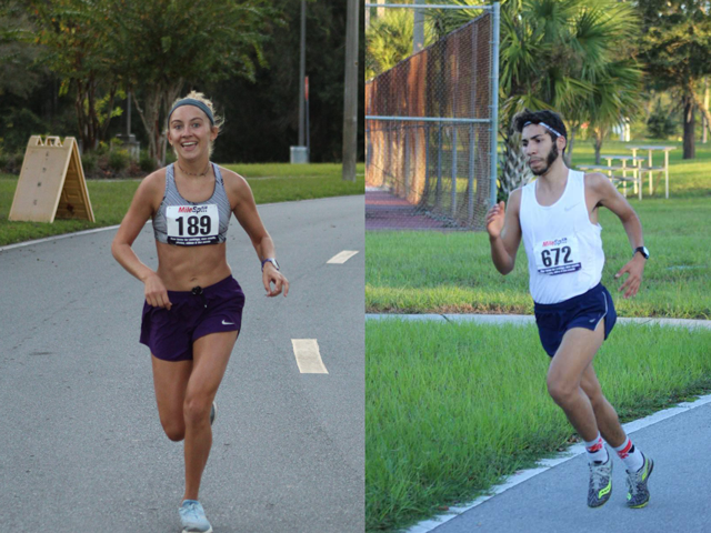 On the left a female cross country runner, on the right a male cross country runner, both outdoors at PHSC.